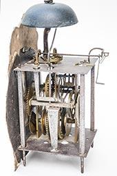 Antike franz. Laternenuhr mit Fayence-Zifferblatt