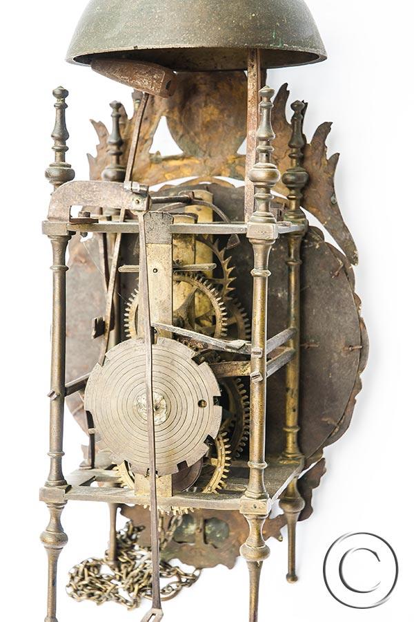 Antike Emaille-Kartuschen-Laternenuhr ca. 1750