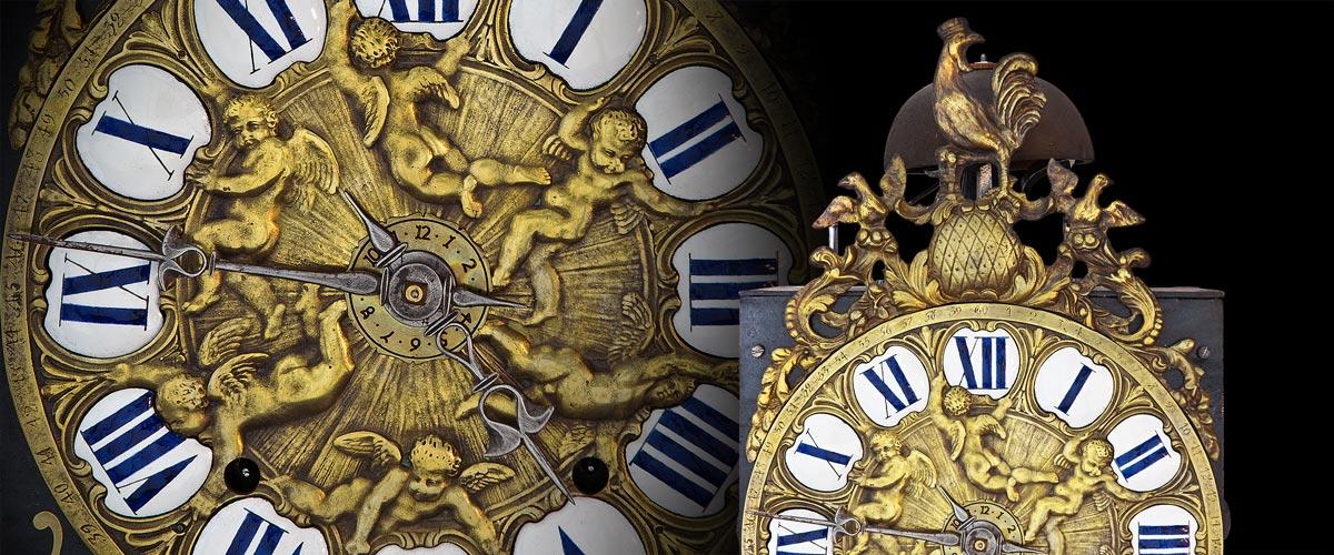 antike französische comtoise uhr hähnchen engel
